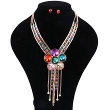 Women Austrian Crystal Rhinestone Flower Pendant Necklace Simple Tassel Chain Necklaces Earring Party Dress Jewelry Sets