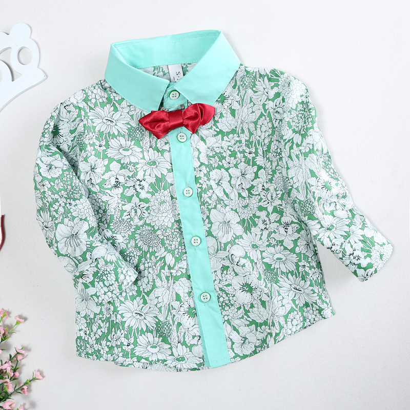 Baby Boy font b Shirt b font Children Clothes Boys Floral Blouse With Bowknot Baby Boy