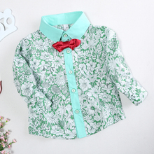 Baby Boy Shirt Children Clothes Boys Floral Blouse With Bowknot Baby Boy Shirt Shirts Little Gentle Men Kids Camisa Shirt B0110B