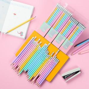 Image 5 - Makro Lapices öğrenciler Kawaii kalem renkli altıgen kalem 2B HB yazma kalemler Lapices silgi ile güvenli toksik olmayan Papeleria