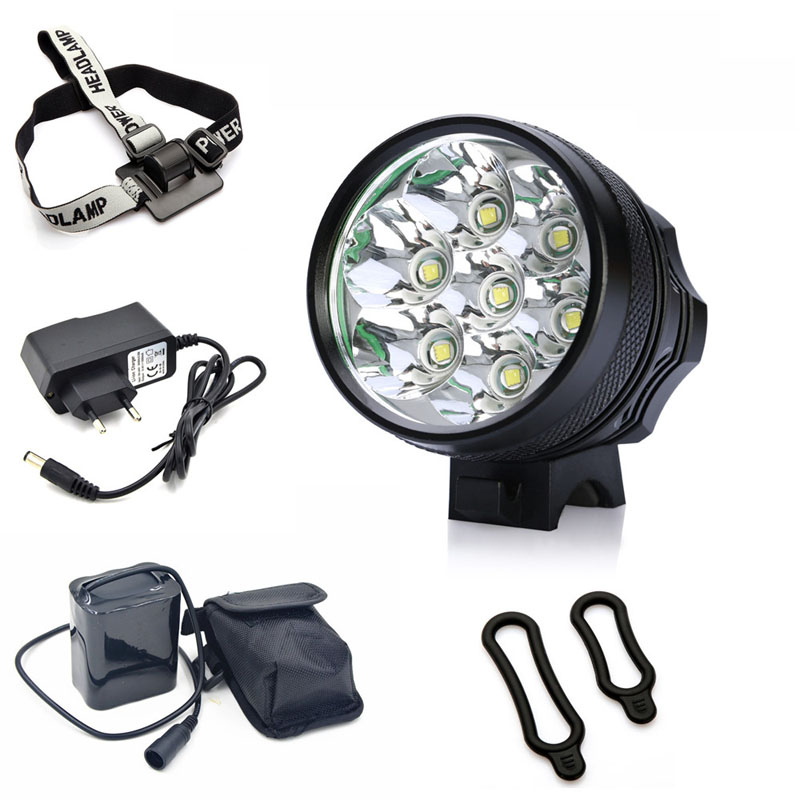 Bike Front Light <font><b>9800</b></font> LM 7x Cree XML T6 LED Bicycle Light Headlamp Headlight With 6*18650 <font><b>Battery</b></font> Pack Cycling Accessories image