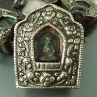 TGB140 Tibet Antique Vieux Laiton Tour Boîte de Prière Tibet GAU Amulettes Tibétain artisanat