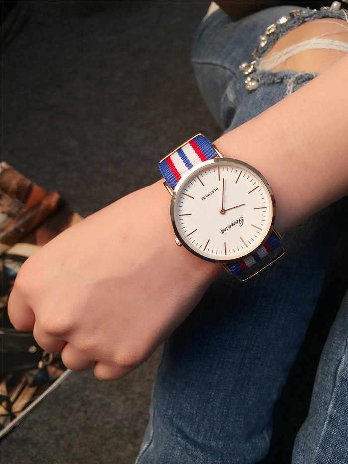 Kobiet zegarka 2018 קלאסי מותג גברים נשים שעונים שמלת קוורץ שעון ניילון רצועת רוז זהב שעון מכירה לוהטת relogio feminino
