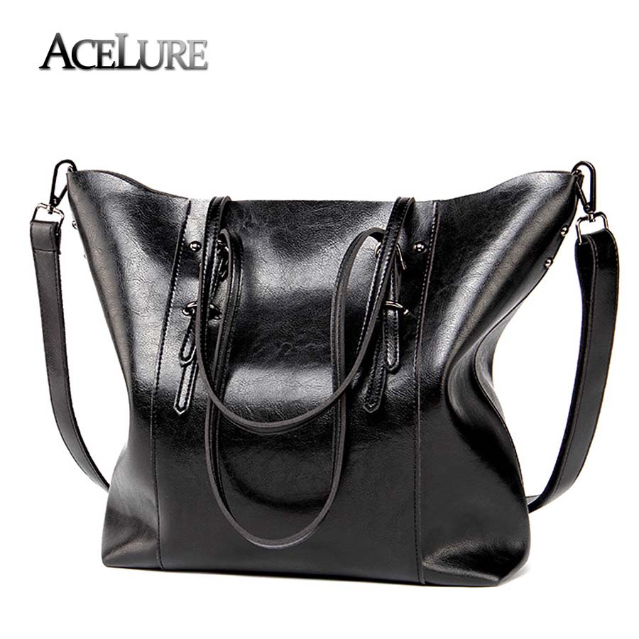 80583b1a6f ACELURE Luxury Brand Women Shoulder Bags Big Bucket Bag Soft Leather Female  Casual Tote Wild Messenger Bag Casual Ladies Handbag-in Shoulder Bags from  ...