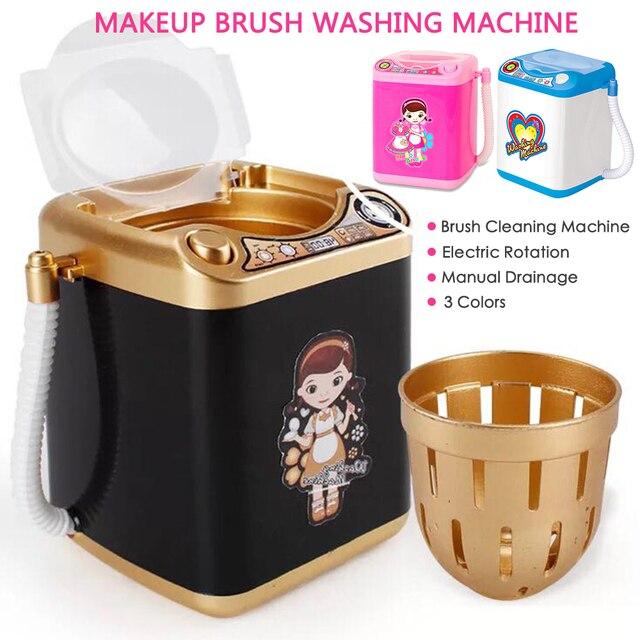 La nave de la gota multifunción Mini cepillo de maquillaje en polvo Puff lavadora máquina de simulación juguetes chico jugar eléctrico limpiador herramienta