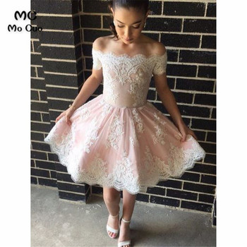 2019 Off Shoulder Homecoming graduation Dresses Short Sleeve Lace Party Dresses Above Knee Mini Homecoming Cocktail Dresses фото