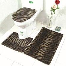 3 Piece Set Brown Leopard Print Bathroom Rug Mat Soft Non Slip Absorbent  Carpet