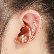 2017 Luxury Brand Women Ear Cuff Jewelry Gold coated Full Rhinestone Colored Crystal Flower Ear Clip Earrings Free Shipping