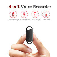 USB Style Key Chain 8GB Mini Pen Recording Device Sound Secret Smallest Dictaphone Audio Voice Micro Recorder With MP3 Player
