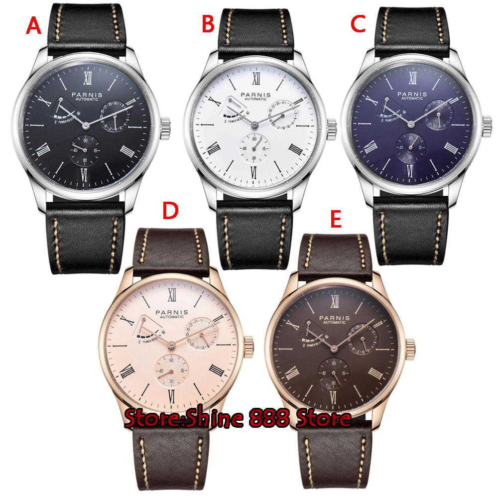 2017 New Arrival Parnis Power Reserve Automatic Watch Mechanical Bussiness Dress Men s Watches Mesh Thin