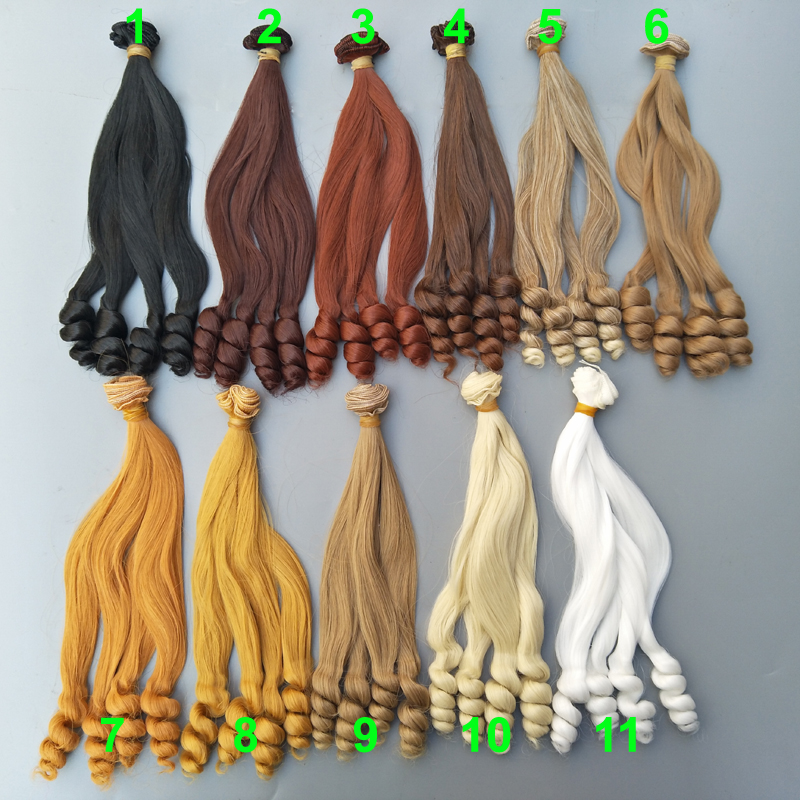 25cm Curly Doll Hair High Temperature Heat Resistant Synthetic Doll Wigs for 1/3 1/4 1/6 BJD hair diy sophisticated long black heat resistant synthetic nobby fluffy curly lace front wig for women