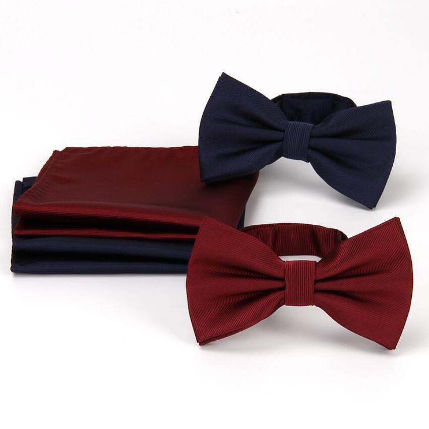 Strips Bow Tie Set Classic Solid Black Cotton Jacquard Woven Men Butterfly Bowknot BowTie Pocket Square Handkerchief Suit Set