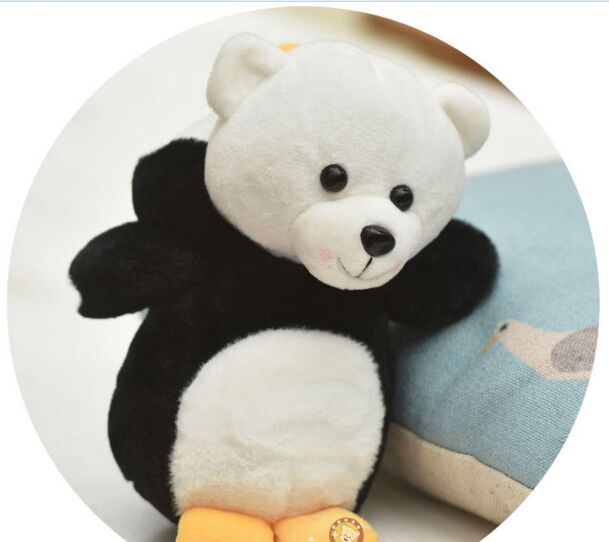 creative plush black penguin bear toy cute bear doll gift toy about 30cm ...