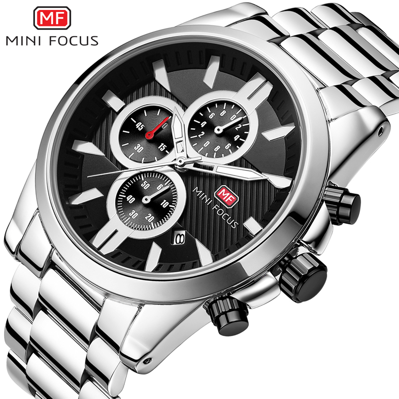 MINIFOCUS Men Watches Stainless Steel Waterproof Analog Quartz Watches Men Luxury Brand Wrist Watch Montre Homme Male Clock 2018 кроссовки для девочки сказка цвет темно синий r593322810 размер 27