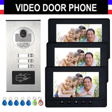 2/3/4 единицы домофон система видеодомофон видео домофон комплект HD Камера 7 «монитор с RFID брелков для 3 бытовые