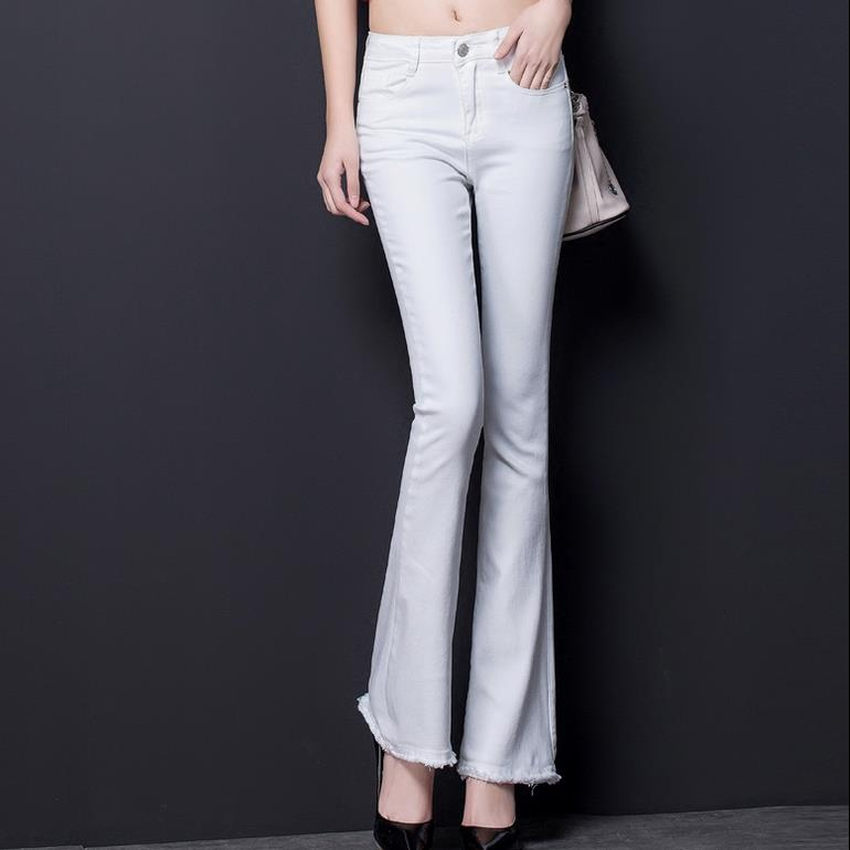 spring high waist   jeans   ladies stretch new white flare pants trousers women