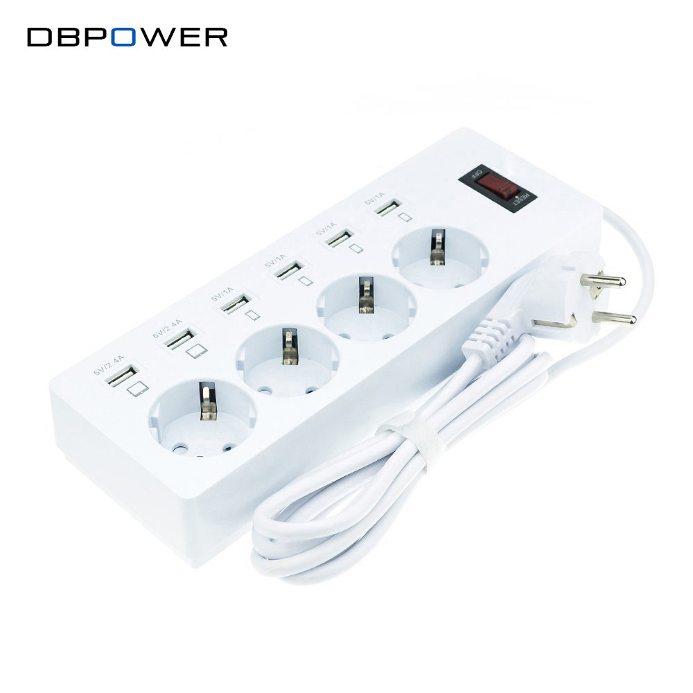 DBPOWER 6 USB 4 Outlet Wall Socket Power Strip Adapter with Switch for USB Devices and  Smartphones Tablets EU Plug Tomada