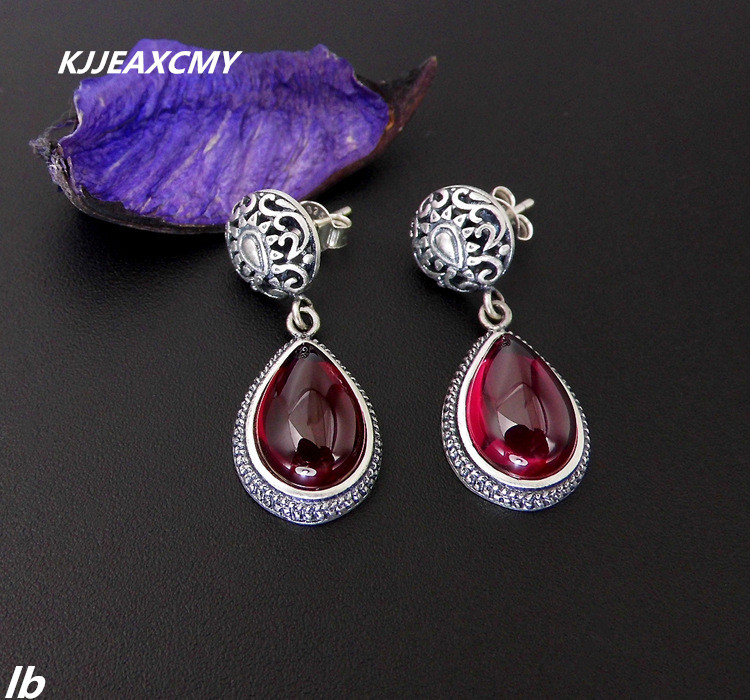 цена на KJJEAXCMY Fine jewelry 925 Sterling Silver Thai silver retro pattern drops corundum garnet earrings ladies earrings
