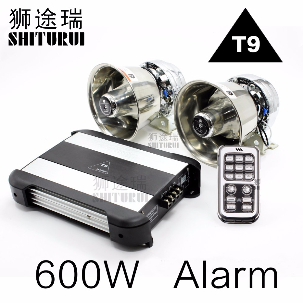 600W Police Sire car MIC Speaker System 18 Sound Loud for Car Warning Alarm Police Fire Siren Horn T9 ,horn car alarm amplifier ...
