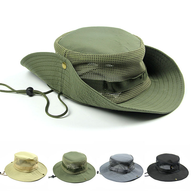 ef248f38378d4 Outdoor Sports Fishing Hiking Hats Wide Brim Flat caps Breathable Boonie hat  Foldable Travel Sun-protecting Buckets Hats