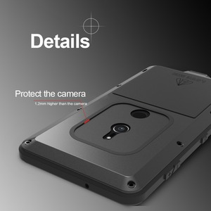 Image 2 - Feitenn Heavy Duty Protection Phone Case for Sony XZ2 Armor Metal Tempered Glass Phone Silicon Bumper Shockproof Aluminum Cover
