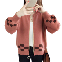 2018 Autumn Winter Long Slim Cardigan Women Sweater Long Sleeve Knitted Plaid Cardigans Female Tricot Tops Red sweaters LJ0557