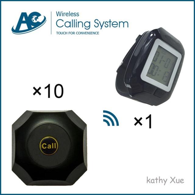 Um Relógio Pager com 10 Botões de Chamada Restaurante Sem Fio Garçom Chamada Sistema Eletrônico