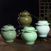 4 Colors Top Grade Crackle Glaze Yixing Zisha Ceramics Art Lotus Leaf Eco-Friendly Tea Caddy Tea Canister Tea Porcelain Jar
