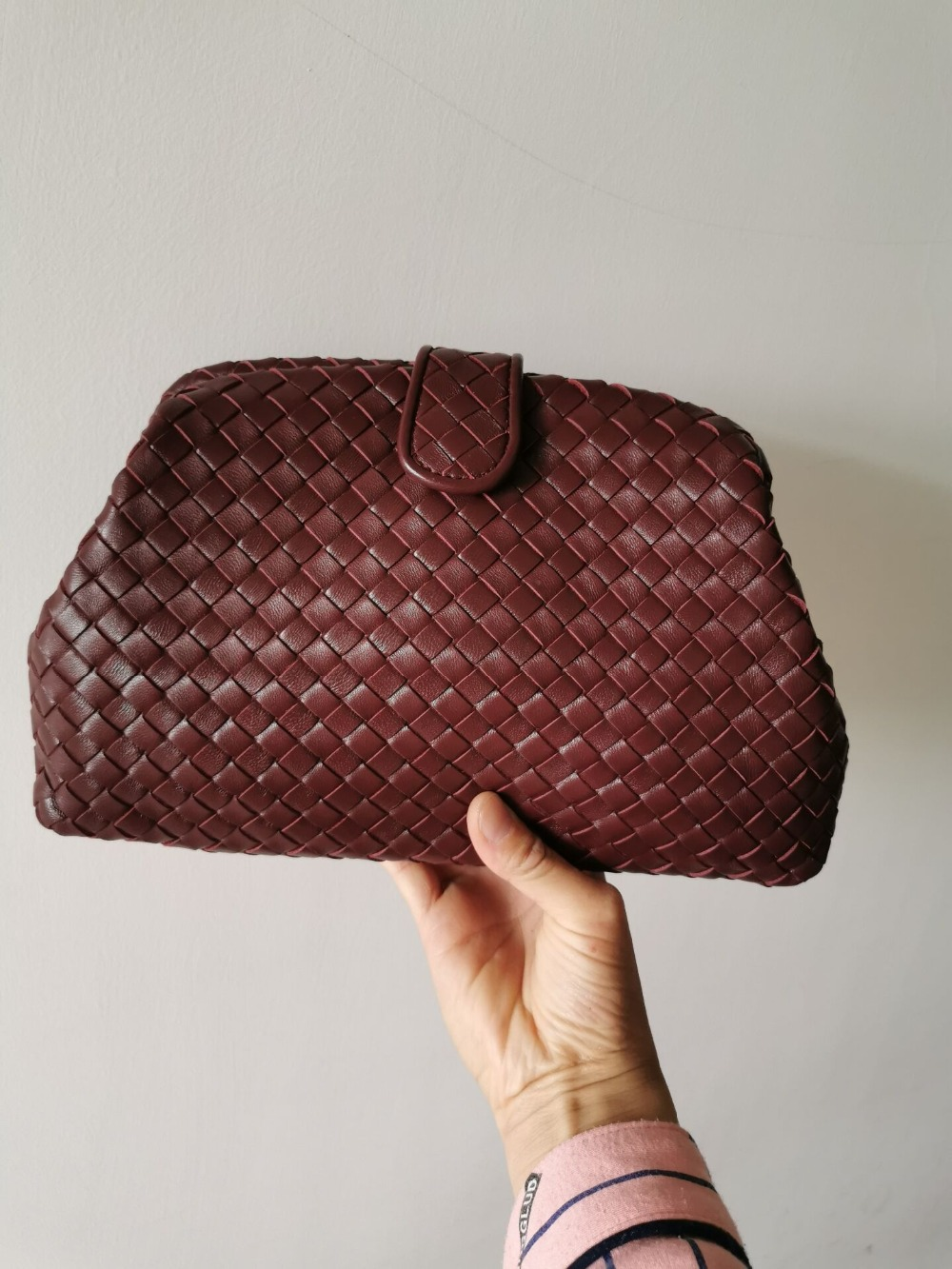 High Quality Fashion Women Clutch Bag 2019 Newest Style Sheepskin Handmade Woven Bags Hand bag