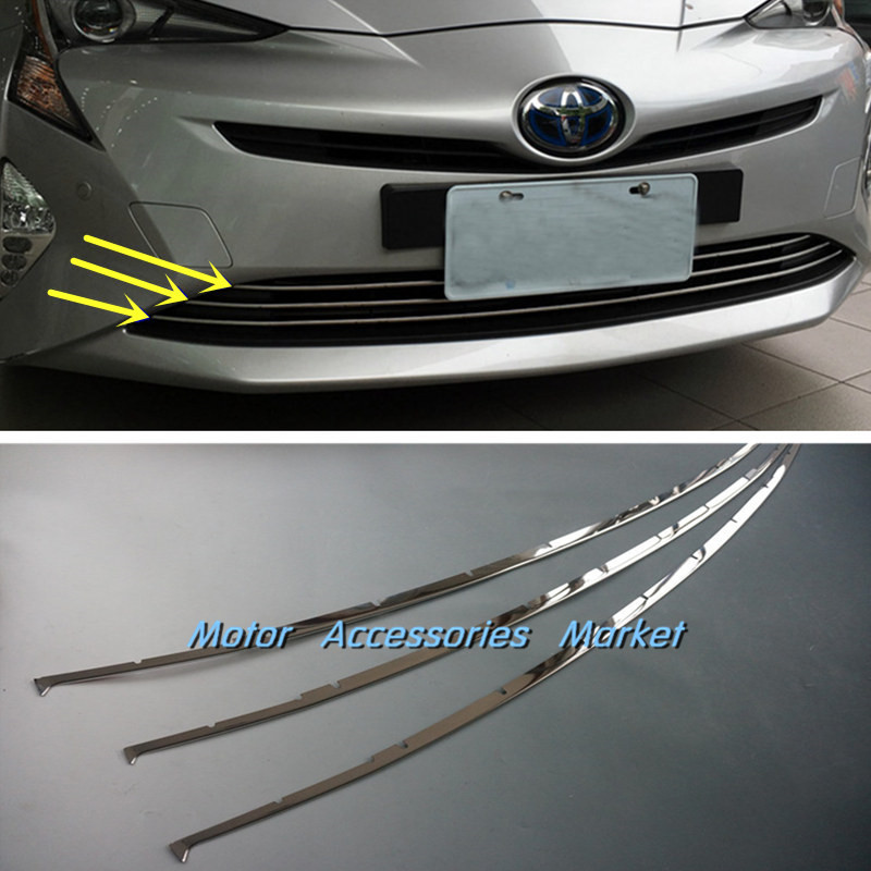 New Stainless Steel Lower Grille Air Vent Cover Trim for TOYOTA Prius Hatchback 2016 2017 2018