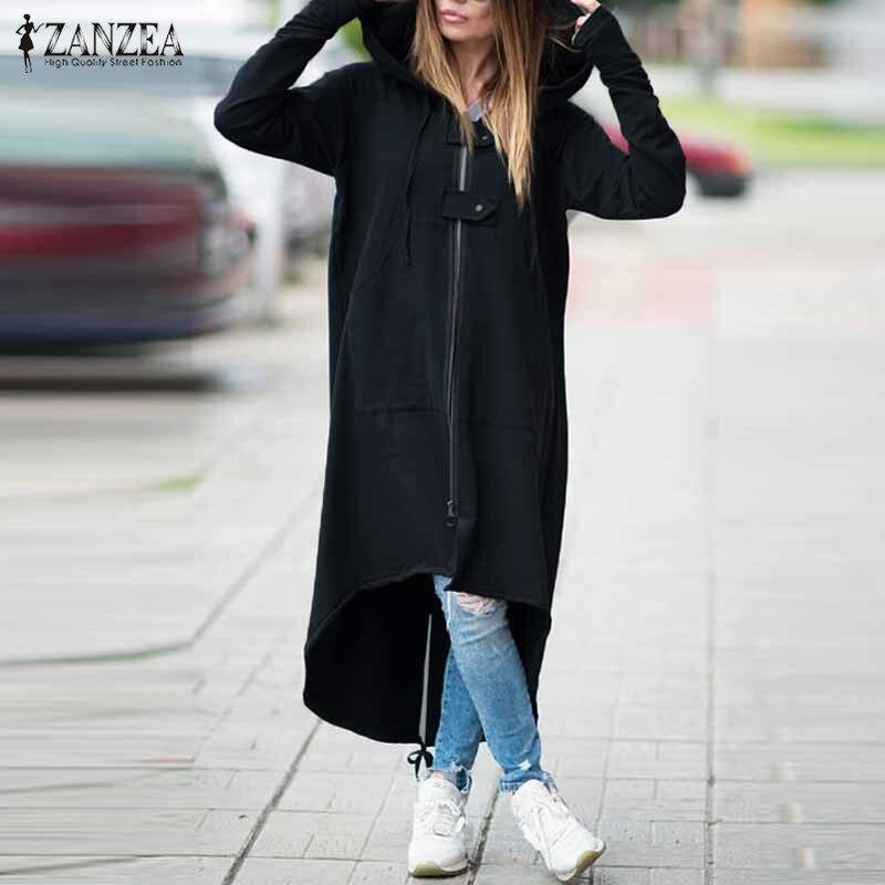 2018 ZANZEA Frauen Mit Kapuze Long Sleeve Zipper Kordelzug Casual Unregelmäßigen Mantel Casual Solide Lange Jacke Sweatshirt Plus Größe