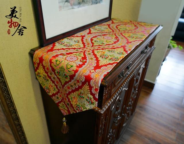 두꺼운 테이블 러너 클래식 레드 브로케이드 패션 럭셔리 자수 웨딩 룸 소파 홈 호텔 침구 빌라 장식 천