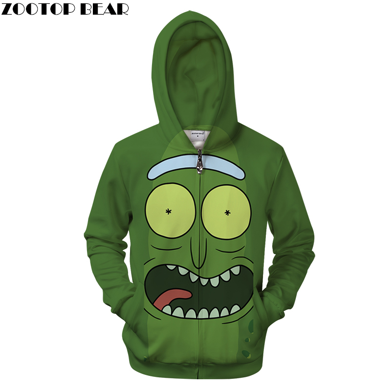 Rick and Morty Zip Hoodies Men Zipper Sweatshirts Cartoon 3d Pullover Streetwear Hoody Male Tracksuits 2018 Drop Ship Asian size
