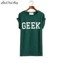 Летом Стиль Geek Письмо Печати Футболка Женщины Нью Повседневная О-Образным Вырезом тонкий Футболки для Женщин С Коротким Рукавом Зеленый Женщины Футболка