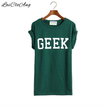 Summer Style Geek Letter Print T Shirt Women New Casual O-Neck Slim T-shirts for Women With Short Sleeve Green Women T Shirt