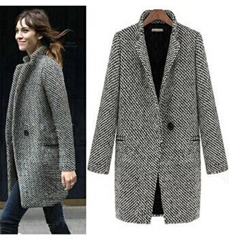 Women Coat Gray Woolen Spring/winter Long-Brand Outwear New Lady