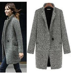 Image 1 - Yeni tasarım yeni ilkbahar/kış kadın ceket gri yün ceket uzun marka yün ceket palto bayan dış giyim