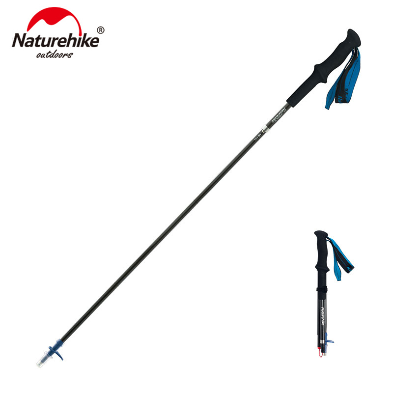 Naturehike Ultralight 4-sections  Foldable Adjustable Trekking Poles Carbon Fiber Walking Hiking Sticks NH18D020-Z