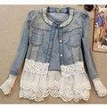 Nova primavera 2016 jaquetas mulheres outerwear magro rendas patchwork-manga longa jaqueta jeans senhora calças de brim do vintage jaqueta jaqueta de renda