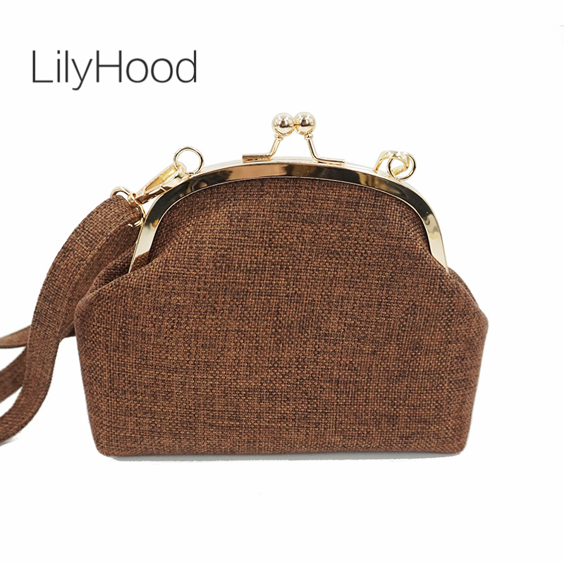 LilyHood Women Lace Kiss Lock Teenager Shoulder Bag Vintage Retro Chic Cute Sweet Victorian Fabric Small Cellphone Crossbody Bag universal cute funny jacket style cellphone bag blue fluorescent green