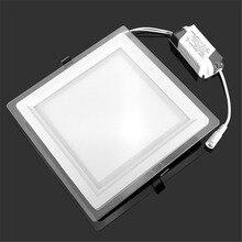 6 Вт, 9 Вт, 12 Вт, 18 Вт, светодиодный светильник с регулируемой яркостью, квадратное стекло, потолочные встраиваемые светильники, AC85-265+ Драйвер