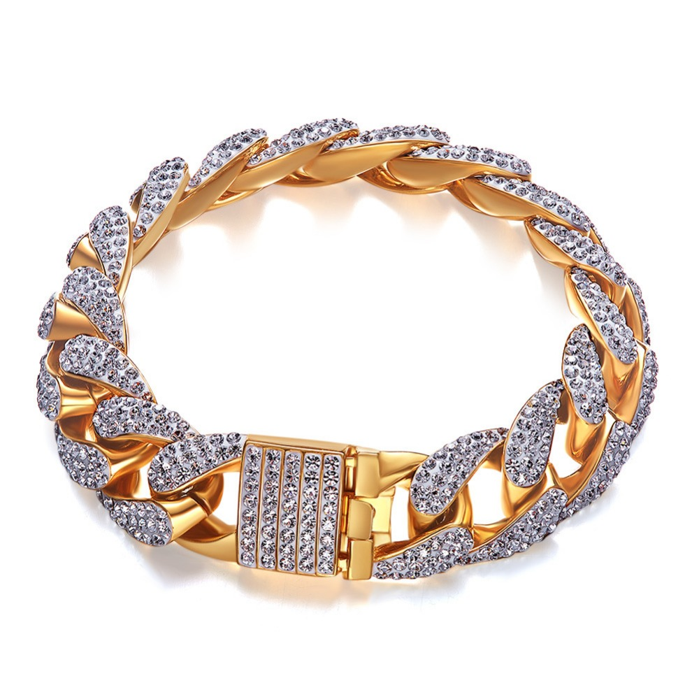 15mm wide Hip Hop Bling Iced Out Gold Cuban Chain Bracelet AAA CZ Zircon Miami Link Chain Bangle Bracelets Men Rapper Jewelry15mm wide Hip Hop Bling Iced Out Gold Cuban Chain Bracelet AAA CZ Zircon Miami Link Chain Bangle Bracelets Men Rapper Jewelry