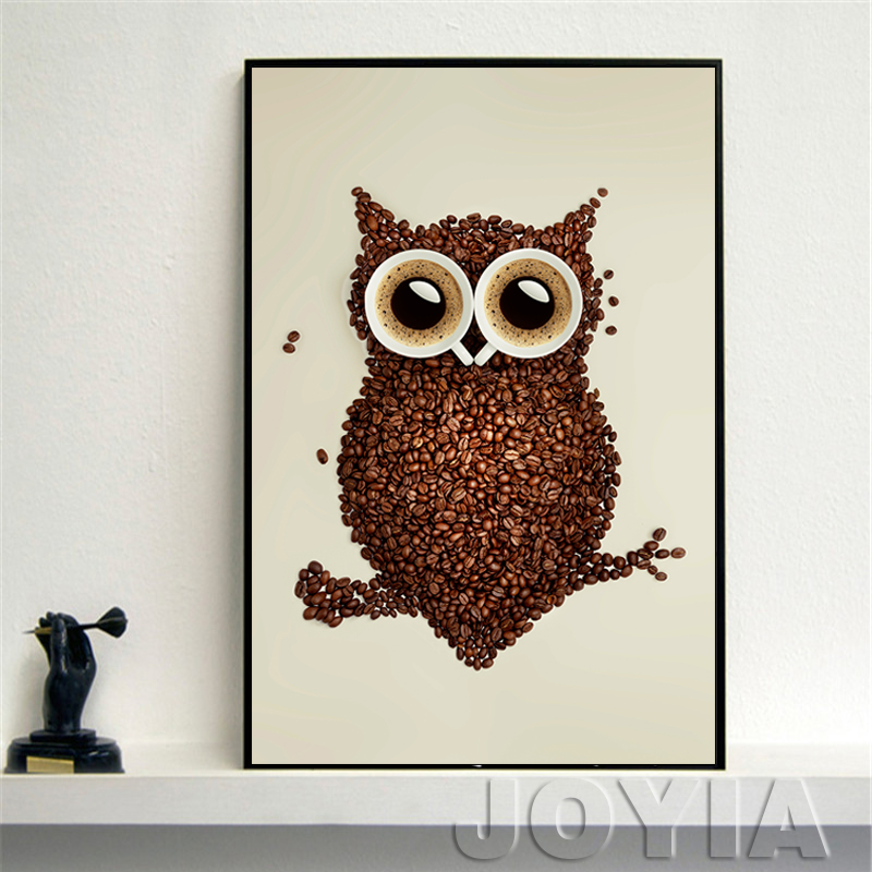 Modern Decorative Wall Art Picture Coffee Beans And Owl Oil