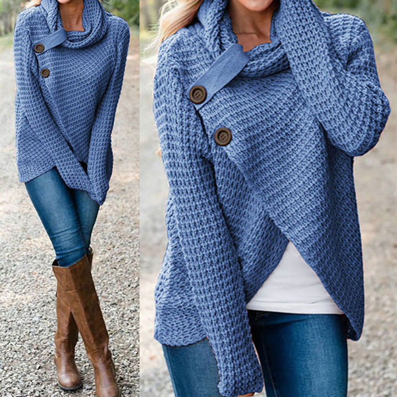 Knitted Sweaters Tops Scarf Collar Female Turtleneck Long-Sleeve Women Warm Solid