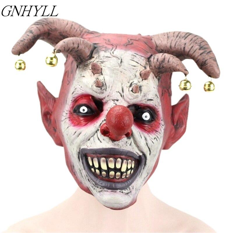 GNHYLL Bell Clown Masks Horrible Scary Mask Adult Men Latex Halloween Evil Killer Demon