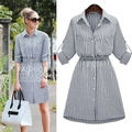 Spring Autumn Women Shirt Dress Lady Long Sleeve Stripe Bodycon Office Dresses Cotton Plus Size Casual Vintage Vestido De Festa