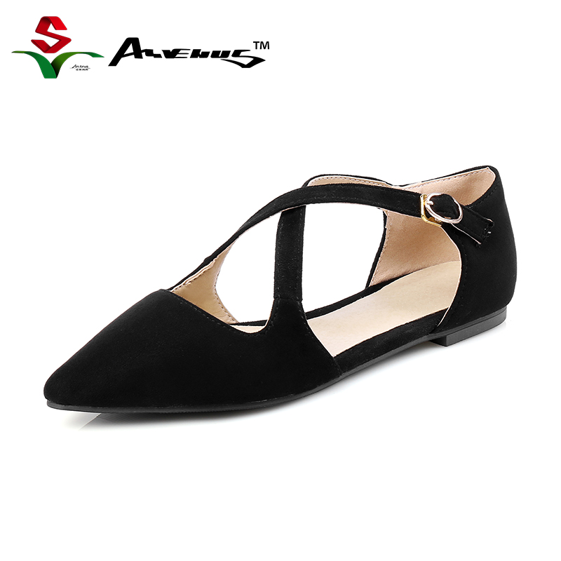 Anvenus Fashion Spring Summer Women D'orsay Flats Pointed Toe Sexy Sandals Nubuck Leather Cross Casual Ladies Shoes Size 35-39 plue size 34 49 spring summer high quality flats women shoes patent leather girls pointed toe fashion casual shoes woman flats