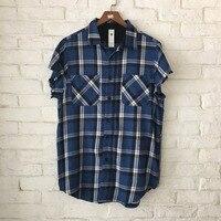 Zipped Side Slits Vintage Plaid Shirt Justin Bieber Sleeveless Turn Down Collar Shirts Streetwear Free Shipping