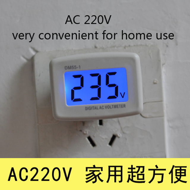 AC 110V 220V LCD Digital Voltmeter Volt Monitor Household AC Panel ...