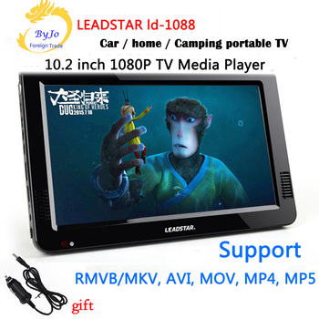 LEADSTAR-1088 10.2 inch LED TV HD 1080P display Media Player Portable TV MINI Car TV Support USB SD HDMI VGA AV Car charger gift